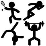 Sports Icons (Athletics/Tennis/Gymnastics/Weightlifting) poster