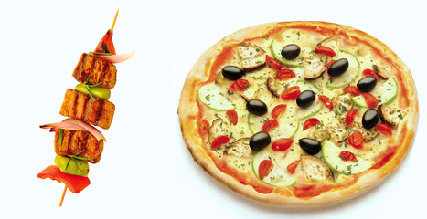 pizza and grilled meat