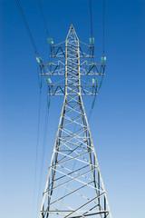 powerline against blue sky