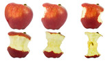 Sequence of an apple being eaten isolated on white background.. poster