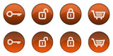 Glossy Orange 3D Web Button Set (normal and clicked states) poster