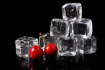 Ice cube with cherries