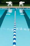 Lane separator in outdoor swimming pool poster