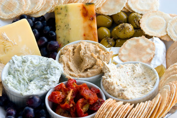 Gourmet dips olives, cheese and crackers