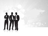 Business silhouettes on the Gray background