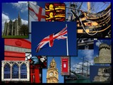 Montage of typical British sights, like a postcard poster
