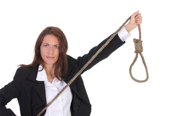 young businesswoman with gallows