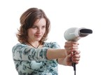 Woman shooting with hairdryer poster