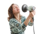 Woman singing with hairdryer poster