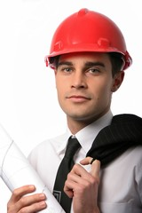 Architect in Red Safety Hat