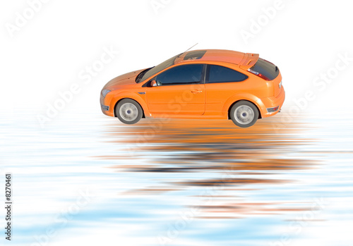 Foto op Canvas Snelle auto s orange car isolated