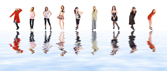 nine girls reflected in water