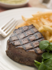 Fillet Steak, chips and Watercress