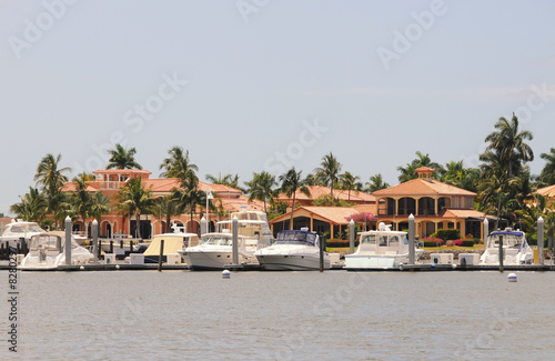 Boat marina and luxury homes