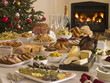 Buffet Lunch Christmas Tree and Log Fire