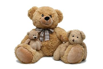 Un ours en pelluche et ses oursons