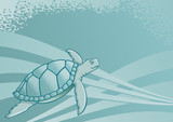 Sea turtle background for page layout or presentations poster