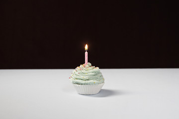 Single cupcake with birthday candle