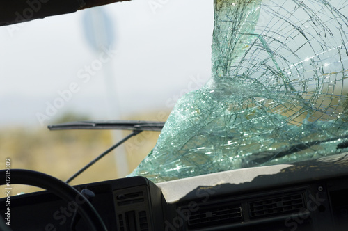 Broken car windshield, view from interior