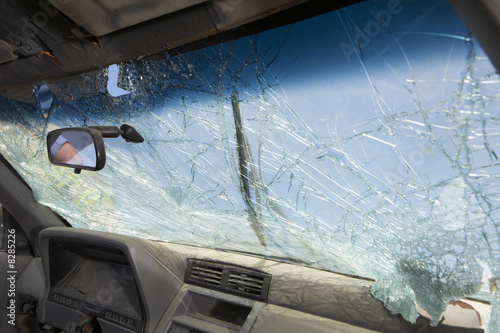 Broken windshield of car, view from interior