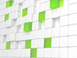 white plastic and green glass cubes