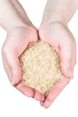 Rice in woman's hands (isolated on white)