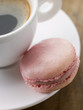 Raspberry Macaroon with a Cup of Espresso