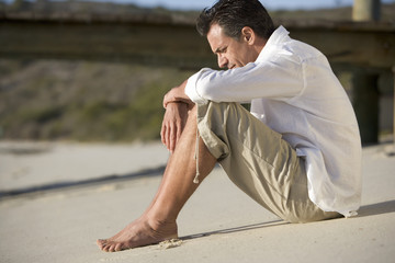 A man sitting on a beach