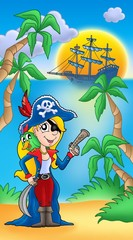 Pirate woman with parrot and boat