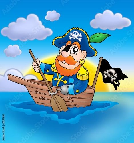 Deurstickers Piraten Pirate on boat with sunset
