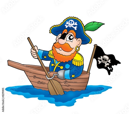 Fotobehang Piraten Pirate in the boat
