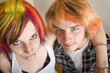 Young Couple with Bright Colored Hair Embrace