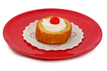 cream shortcake with cherry