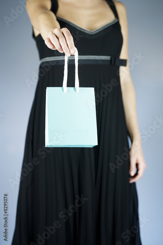 A young woman holding an expensive shopping bag