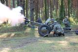 German cannon . WW2 reenacting poster