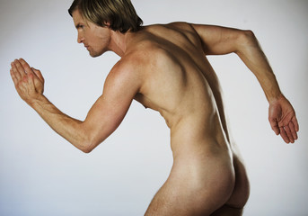 A male nude, muscles