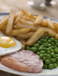 Gammon Steak Fried Egg Peas and Chips