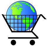 earth or globe inside shopping cart - world commerce poster