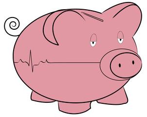 piggy bank with flatline heart rhythm - money concept
