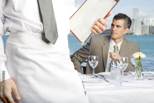 A businessman having lunch