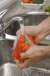 Detail of hands washing red pepper