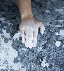 A climbers hand, close-up