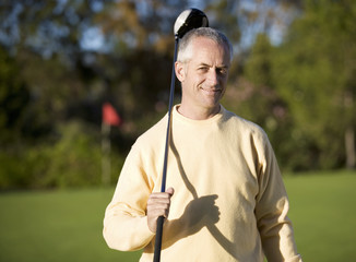 Man standing on a golf course
