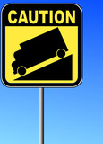 yellow caution steep grade down sign with blue sky  poster