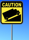 yellow caution steep grade up sign with blue sky  poster