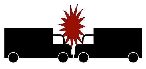illustration of two trucks crashing head on