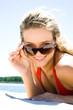 Blonde wit sunglasses