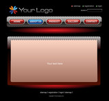 Website red chrome template poster