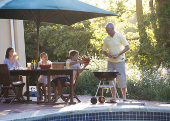 Family barbeque on the patio