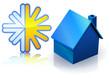 Maison bleu et climatisation (reflet)